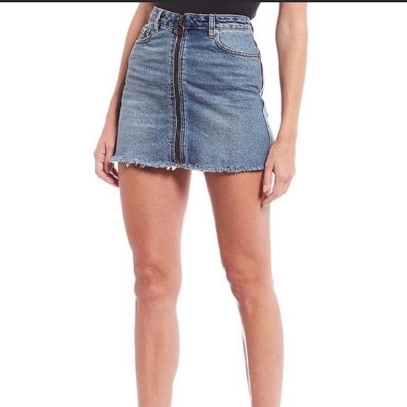 Free People Zip it Up Jean Mini Skirt